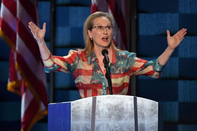 Actress Meryl Streep addresses delegates on day two of the Democratic National Convention at the Wells Fargo Center in Philadelphia, Pa., on July 26, 2016. Photo by Pat Benic/UPI