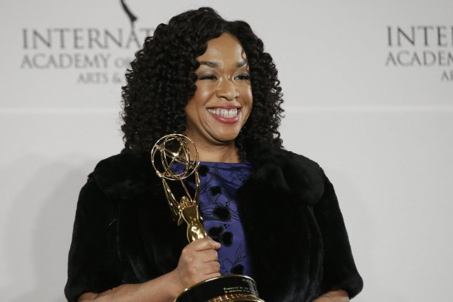 Shonda Rhimes arrives in the press room with her award at the 44th International Emmy Awards on November 21. ABC ordered a new legal drama pilot from Rhimes set in New York City. File Photo by John Angelillo/UPI