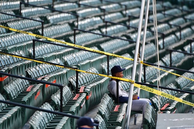 Baseball teams have begun playing in their regular stadiums without fans. Photo by David Tulis/UPI