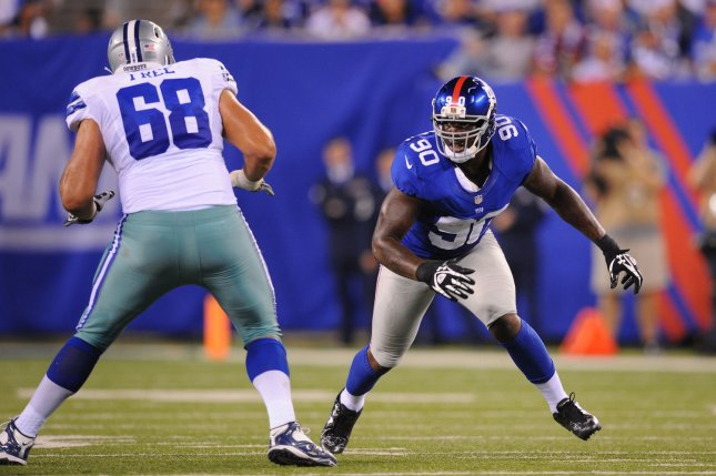 Former Giants edge rusher Jason Pierre-Paul (90) was traded to the Buccaneers before the 2018 season. Earlier this off-season, he signed a two-year, $25 million deal with the Bucs. File Photo by Rich Kane/UPI