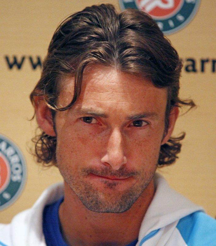 Spaniard Juan Carlos Ferrero addresses the media after his French Open third-round match against German Philipp Kohlschreiber at Roland Garros in Paris, May 29, 2009. Ferrero lost to Kohlschreiber 4-6, 6-2, 4-6, 7-6, 3-6. (UPI Photo/ David Silpa)