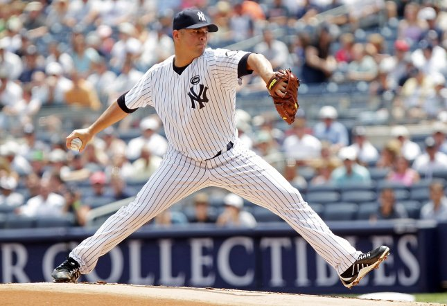 New York Yankees starting pitcher Javier Vazquez throws a pitch in the first inning against the Los Angeles Angels at Yankee Stadium in New York City on July 21, 2010. UPI/John Angelillo