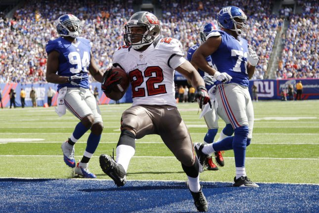 That Tampa Bay Buccaneers Doug Martin (22) was suspended for four games and entering a drug treatment center was a stunning development for teammates of the Buccaneers running back. File Photo by John Angelillo/UPI