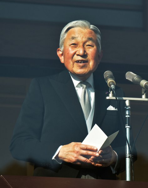 Japan's Emperor Akihito offered a new year greeting at the Imperial Palace in Tokyo on January 2. He expressed an interest in abdicating the throne, citing his advanced age, On Friday, Japan's parliament enacted a single-use law allowing the throne to be passed to his eldest son, Crown Prince Naruhito. Photo by Keizo Mori/UPI