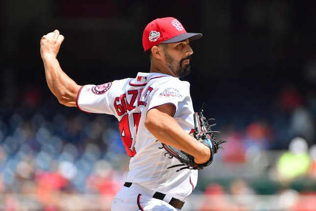 Washington Nationals starting pitcher Gio Gonzalez (47) pitches against the Atlanta Braves in the first inning on Thursday at Nationals Park in Washington, D.C. Photo by Kevin Dietsch/UPI