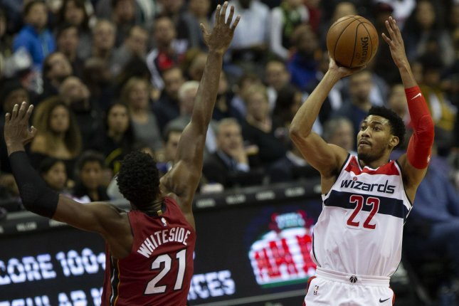 Washington Wizards forward Otto Porter Jr. (22) shoots during a game between the Miami Heat and Washington Wizards on October 18 at Capitol One Arena in Washington, DC. Photo by Alex Edelman/UPI