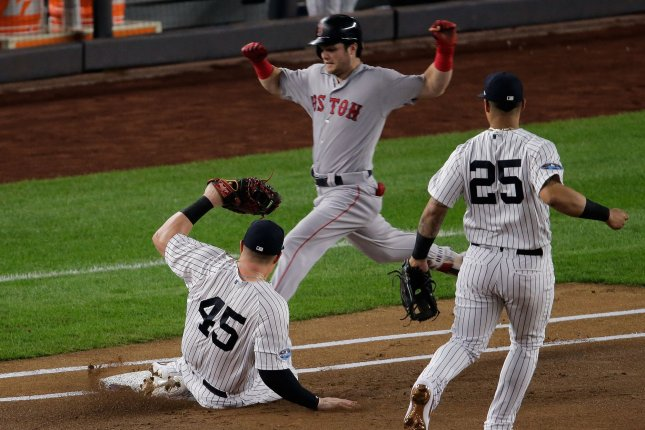 The Boston Red Sox beat the New York Yankees in the 2018 American League Division Series. File Photo by Ray Stubblebine/UPI