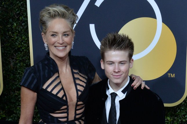 Sharon Stone (L), pictured with son Roan Joseph, said she lost everything and was forgotten after having a massive brain aneurysm in 2001. File Photo by Jim Ruymen/UPI