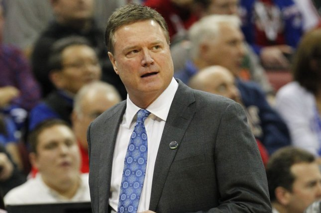 Coach Bill Self and the Kansas Jayhawks men's basketball team beat Stanford 72-56 Sunday in Stanford, Calif. File Photo by John Sommers II/UPI