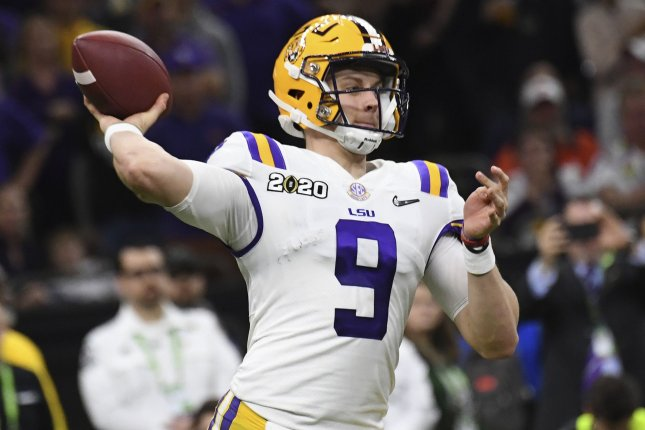 The Cincinnati Bengals are expected to select former LSU quarterback Joe Burrow with the No. 1 overall pick in the 2020 NFL Draft. File Photo by Pat Benic/UPI