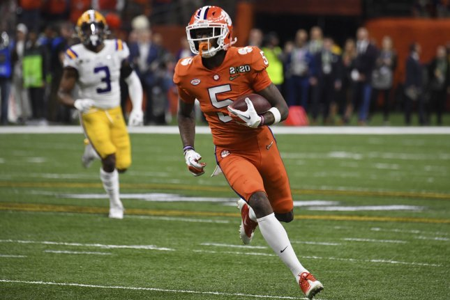 Former Clemson Tigers wide receiver Tee Higgins (5) faced off against ex-LSU quarterback Joe Burrow in the national championship game last season. File Photo by Pat Benic/UPI