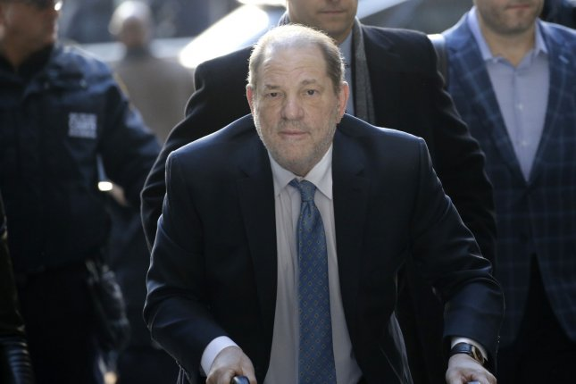 Harvey Weinstein arrives at Manhattan Supreme Court for Day 5 of deliberations in his rape trial February 24. He faces new sexual assault charges in Los Angeles. File Photo by John Angelillo/UPI