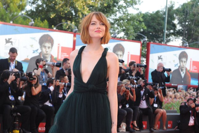 American actress Emma Stone attends the 71st Venice Film Festival in this August 2014 UPI file photo. Her film Birdman was nominated for a leading seven Golden Globe Awards Thursday.