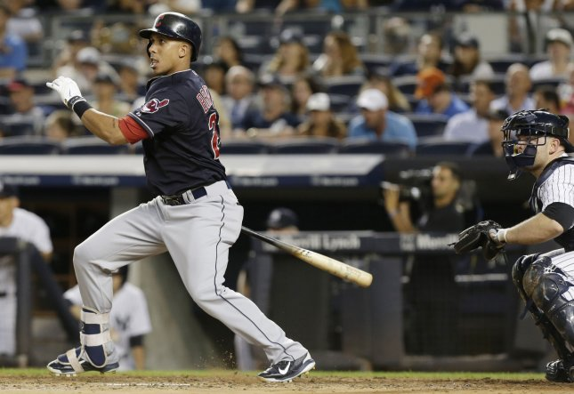 Cleveland Indians Michael Brantley hits an RBI single in the 3rd inning against the New York Yankees in August. File photo by John Angelillo/UPI