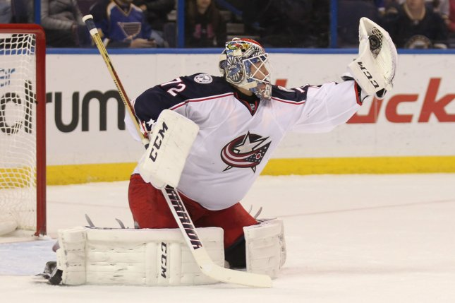 Columbus Blue Jackets goaltender Sergei Bobrovsky. Photo by Bill Greenblatt/UPI