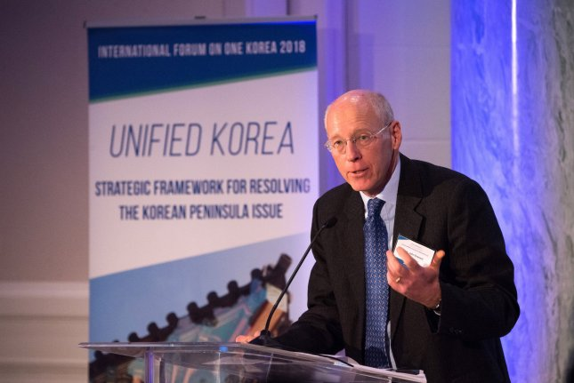 Former British Ambassador to North Korea John Everard delivers remarks on Korea unification during the One Korea Forum at Carnegie Institute for Science, in Washington, D.C. on Wednesday. Photo by Kevin Dietsch/UPI