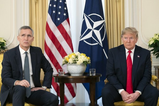 During a Wednesday phone call, President Donald J. Trump (L) urged NATO secretary general Jens Stoltenberg (R) to step up the alliance's involvement in the Middle East. The two are shown here during a at Winfield House in London in December 2019. White House Photo by Shealah Craighead/UPI
