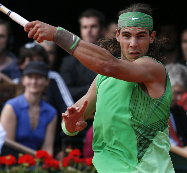 Spaniard Rafael Nadal hits a forehand during his match with Thomaz Bellucci of Brazil at the French Tennis Open in Paris May 28, 2008. Nadal won the first round match in straight sets 7-5, 6-3, 6-1. (UPI Photo/ David Silpa)