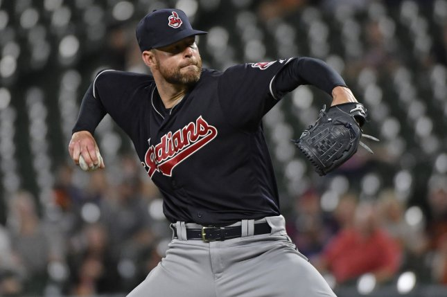 Cleveland Indians starting pitcher Corey Kluber delivers to the Baltimore Orioles during the eighth inning at Camden Yards in Baltimore, June 19, 2017. Kluber pitched a three-hit 12-0 complete game shutout. Photo by David Tulis/UPI