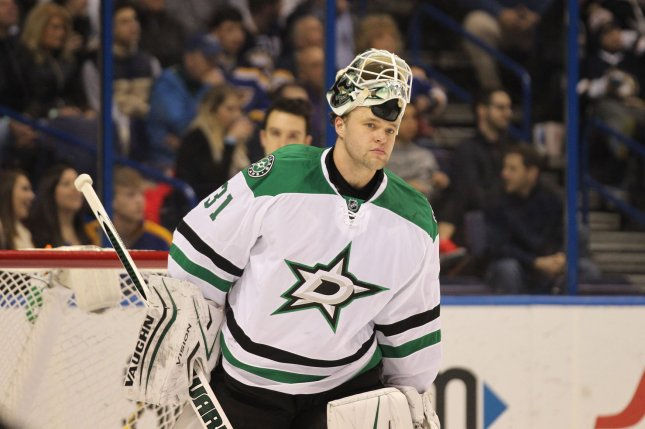 Dallas Stars goaltender Antti Niemi of Finland skates to the bench during a timeout against the St. Louis Blues in the first period at the Scottrade Center in St. Louis. File photo by Bill Greenblatt/UPI