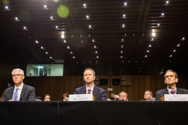 Facebook general counsel Conin Stretch (L) testifies with other social media executives during a Senate intelligence committee hearing on November 1, 2017. Facebook CEO Mark Zuckerberg will testify before a House committee on April 11 about how his site guards user data. File Photo by Erin Schaff/UPI