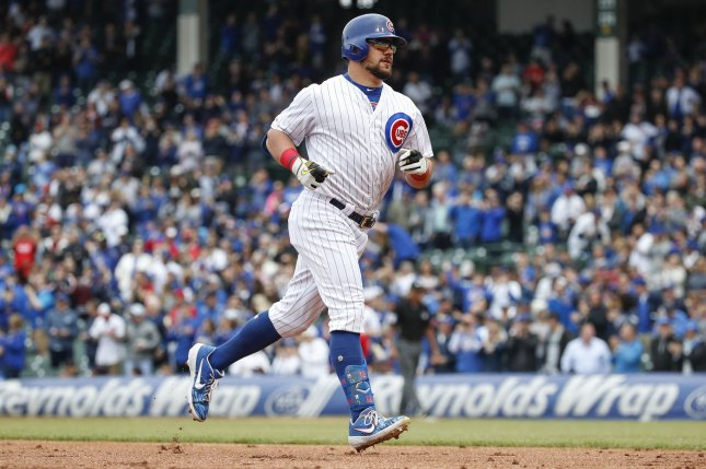 Kyle Schwarber and the Chicago Cubs are tied 1-1 in a series against the Cincinnati Reds, entering the final game of the National League Central showdown at 2:20 p.m. EDT Wednesday in Chicago. Photo by Kamil Krzaczynski/UPI