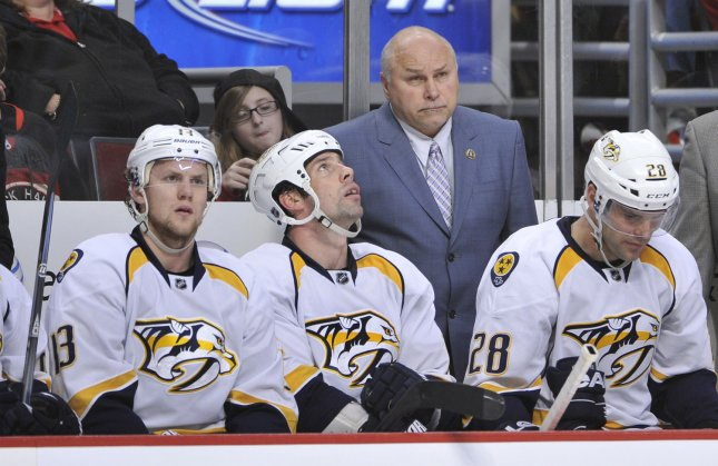 Nashville Predators head Coach Barry Trotz stands on the bench during the second period against the Chicago Blackhawks at the United Center in Chicago, March 25, 2012. UPI/Brian Kersey