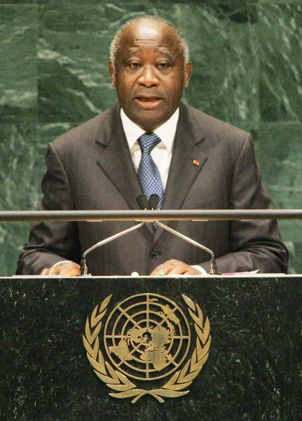 Laurent Gbagbo, former president of the Republic of the Ivory Coast, addresses the the United Nations on September 26, 2007. Charged with war crimes, his International Criminal Court trial begins Thursday. Photo by UPI/ Monika Graff.