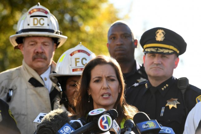Oakland Mayor Libby Schaaf speaks to the press at the scene of a fatal fire in Oakland, California, on December 3, 2016. At least nine people have died and dozens more are unaccounted for. Photo by Terry Schmitt/UPI