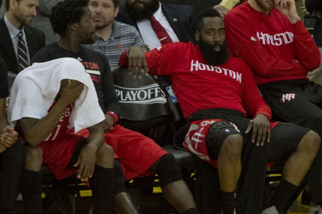 James Harden (R) matched the franchise record for career triple-doubles as the Houston Rockets blitzed the shorthanded Sacramento Kings 132-98 on Wednesday night at Toyota Center. File Photo by Terry Schmitt/UPI