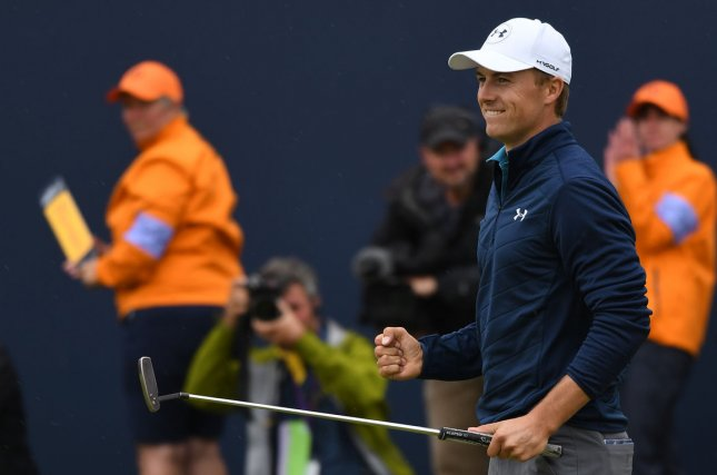 American Jordan Spieth celebrates victory over American Matt Kuchar at the 146th Open Championship at Royal Birkdale Golf Club, Southport, England on July 23, 2017. Spieth won in a combined score of 268, twelve under par. File photo by Hugo Philpott/UPI