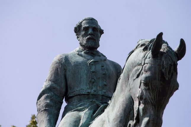 A statue of confederate general Robert E. Lee in Charlottesville, Va., on Aug. 17. A similar statue in Richmond has prompted the state's governor to issue an executive order prohibiting demonstrations at the site until further notice. Photo by Erin Schaff/UPI