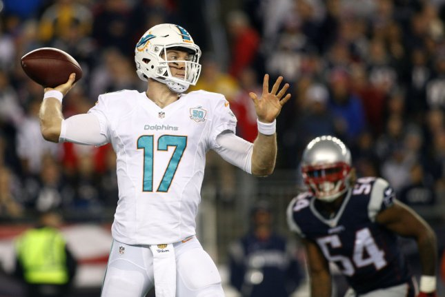 Miami Dolphins quarterback Ryan Tannehill (17) drops back for a pass in the second quarter against the New England Patriots on October 29, 2015 at Gillette Stadium in Foxborough, Massachusetts. File photo by Matthew Healey/UPI