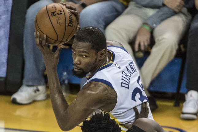 Golden State Warriors forward Kevin Durant hasn't played since Game 5 of the Western Conference semifinals against the Houston Rockets. File Photo by Terry Schmitt/UPI