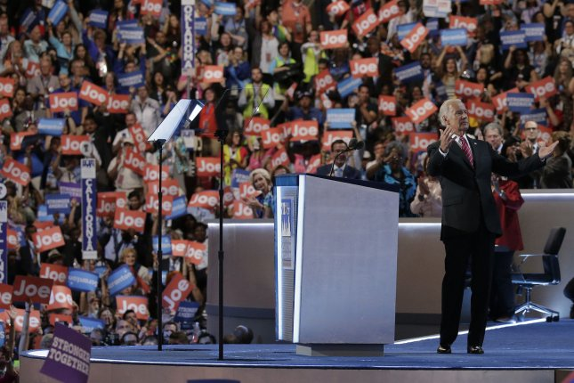 Former Vice President Joe Biden is seen before he speaks on the third day of the 2016 Democratic National Convention in Philadelphia. The 2020 convention, which will culminate with his nomination for president, begins Monday. File Photo by Ray Stubblebine/UPI