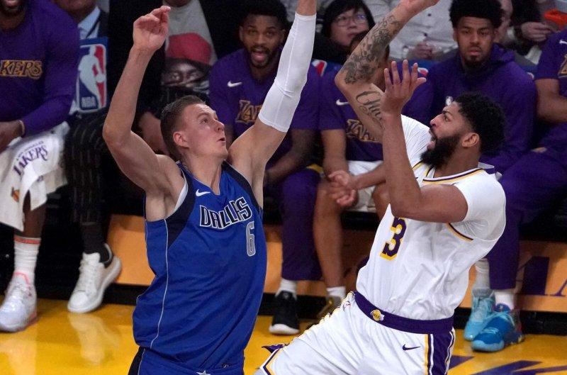 Dallas Mavericks big man Kristaps Porzingis (L) averaged 20.4 points and 9.5 rebounds per game during his first season in Dallas. File Photo by Jon SooHoo/UPI