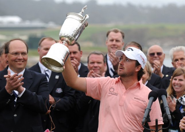 Graeme McDowell, shown after winning the 2010 U.S. Open, added another title to his resume Sunday with a playoff win over Tiger Woods. That also moved him into the Top 10 of the world men's golf rankings released Monday. UPI/Kevin Dietsch