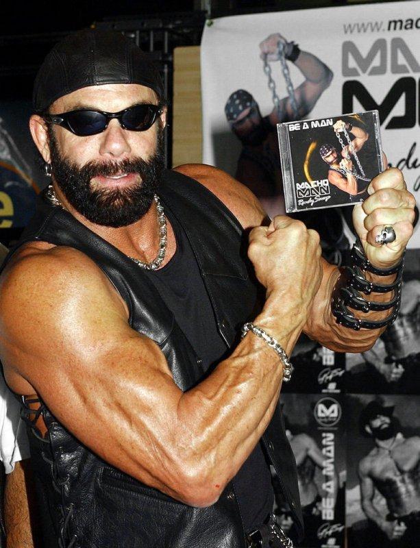 WWF superstar Macho Man Randy Savage attended an in store promo in New York City. (UPI/Ezio Petersen)