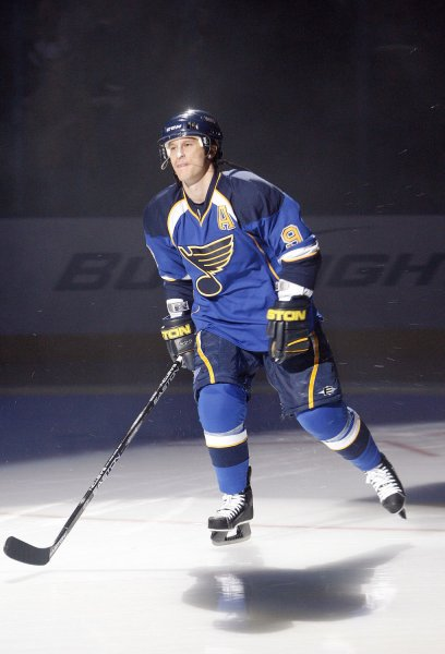 St. Louis Blues Paul Kariya takes the ice during introductions before a game against the Atlanta Thrashers at the Scottrade Center in St. Louis on October 8, 2009. UPI/Bill Greenblatt