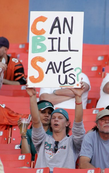 A Miami Dolphins fan show his support for the Dolphins new vice president of football operations Bill Parcells at Dolphin Stadium in Miami on December 30, 2007. The Bengals defeated the Dolphins 38-25 in the season ending game. (UPI Photo/Michael Bush)