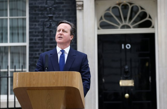 British Prime Minister David Cameron announces the beginning of his re-election campaign March 30, 2015, at No. 10 Downing Street in London.. File Photo by Hugo Philpott/UPI