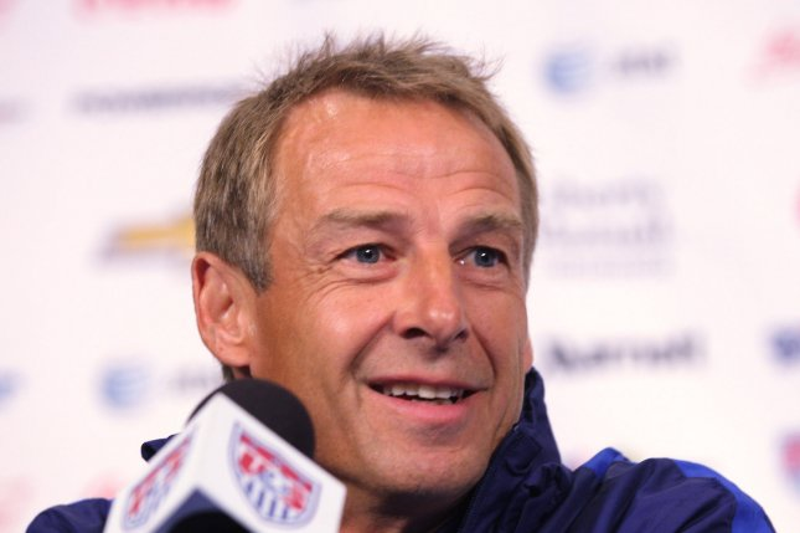 Jurgen Klinsmann talks to reporters before a practice session at Busch Stadium in St. Louis on Novembr 12, 2015. Photo by Bill Greenblatt/UPI