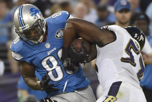 Baltimore Ravens inside linebacker C.J. Mosley (57) tries to wrestle the ball away from Detroit Lions wide receiver Anquan Boldin (80) on an 8-yard gain during the first half of their NFL preseason game at M&T Bank Stadium in Baltimore, Maryland, August 27, 2016. File photo by David Tulis/UPI