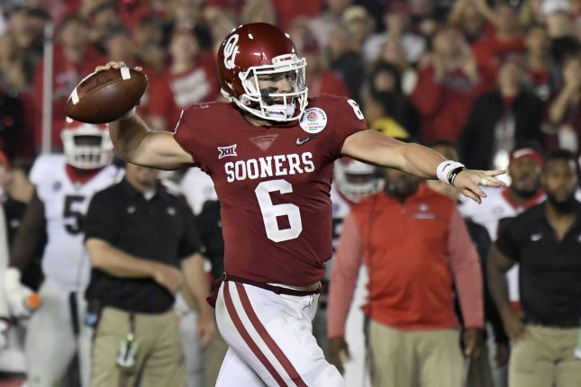 1db401cd0 Oklahoma Sooners quarterback Baker Mayfield (6) looks to make a pass against  the Georgia Bulldogs in the 2018 Rose Bowl game on January 1