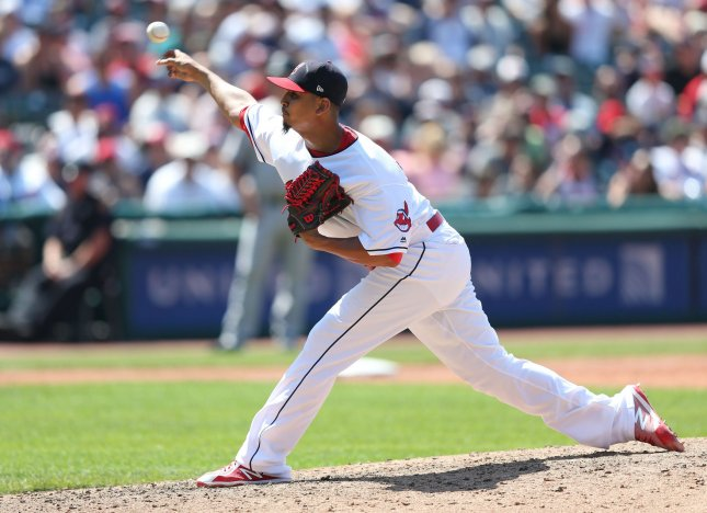 Carlos Carrasco and the Cleveland Indians face the Tampa Bay Rays on Sunday. Photo by Aaron Josefczyk/UPI