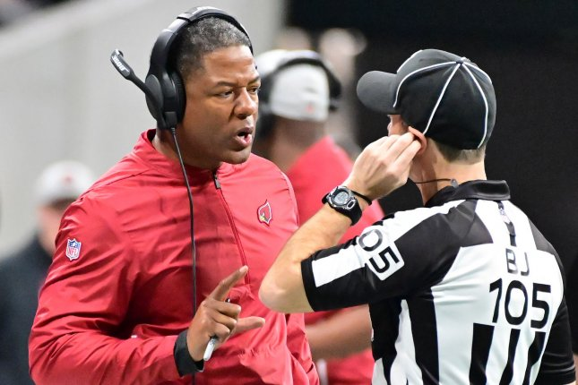 Arizona Cardinals coach Steve Wilks asks for clarification from referee Dino Paganelli during the first half of an NFL game on December 16 at Mercedes-Benz Stadium in Atlanta. Photo by David Tulis/UPI