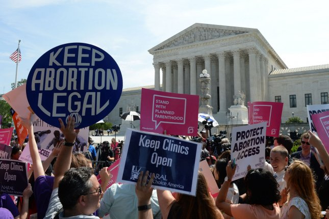 Abortion rights demonstrators rally outside the U.S. Supreme Court in Washington, D.C., in 2016. File Photo by Pat Benic/UPI