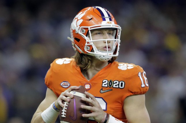 Clemson Tigers quarterback Trevor Lawrence helped raise more than $2,600 for families impacted by the coronavirus before his fundraising page was taken down. File Photo by AJ Sisco/UPI