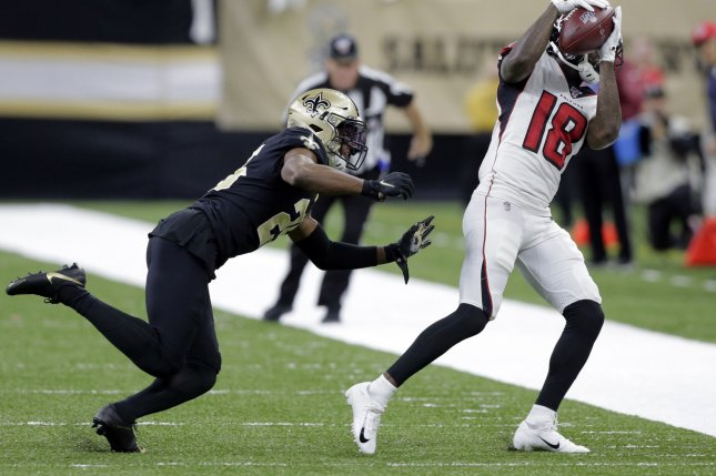 Former New Orleans Saints cornerback Eli Apple (25) previously agreed to a deal with the Las Vegas Raiders earlier this off-season, but the sides couldn't finalize the agreement and he became a free agent again. File Photo by AJ Sisco/UPI