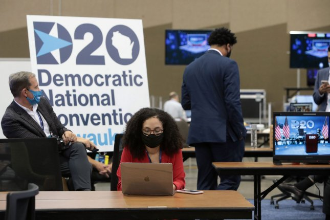 Live feeds for the remote Democratic National Convention are managed in a control room at the Wisconsin Center in Milwaukee on Monday. Pool Photo by Scott Olson/UPI